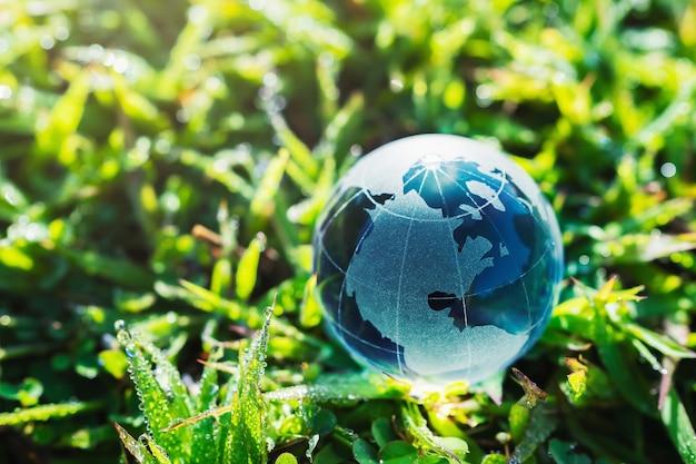 Vidro do globo na grama com a luz do sol. conceito de ambiente