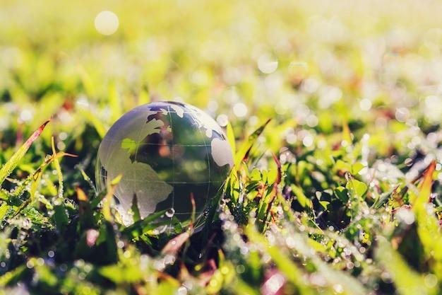 Vidro do globo na grama verde com a luz do sol. conceito de eco ambiente