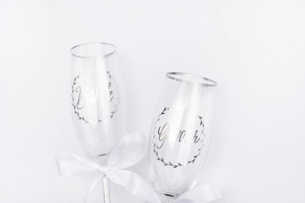 Vidros de casamento vista superior com fundo branco