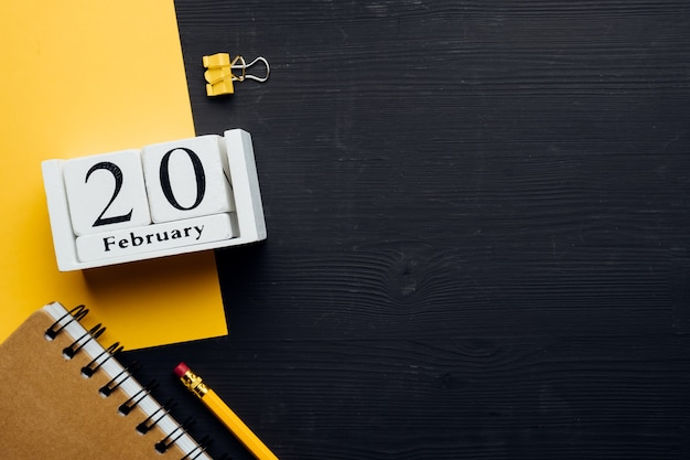 Vigésimo dia do mês de inverno, mês de fevereiro, com espaço de cópia.