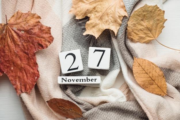 Vigésimo sétimo dia do mês de outono calendário de novembro.