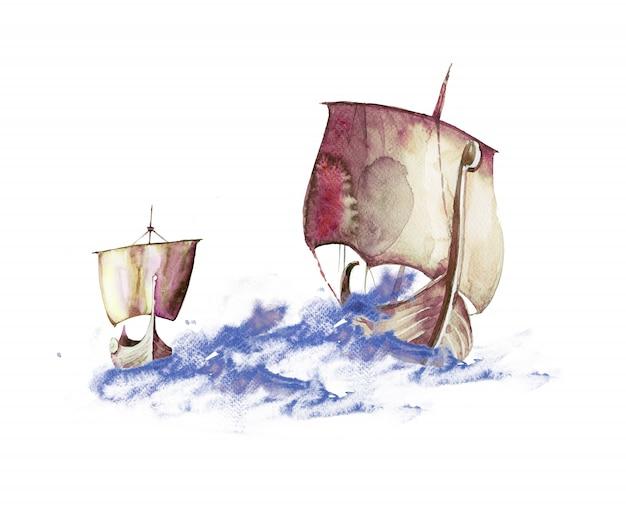 Vikings em aquarela pintados à mão