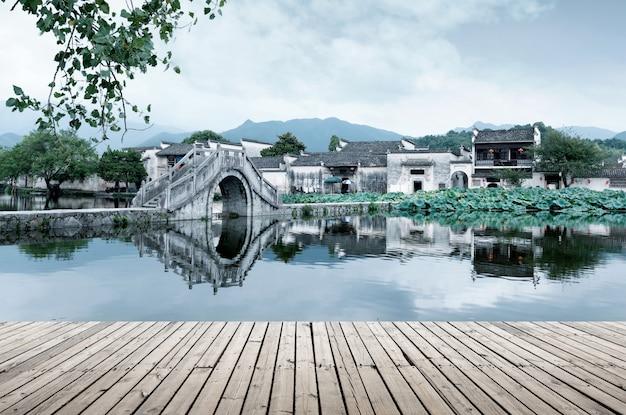 Vila antiga e ponte antiga, anhui, china.