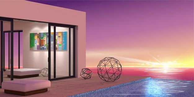 Villa à beira-mar com piscina