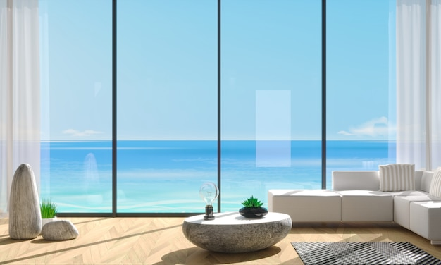 Villa janela panorâmica com vista para o mar azul
