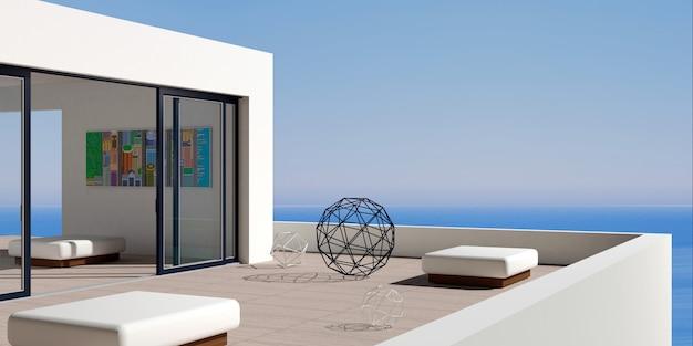 Villa marinha moderna no pátio