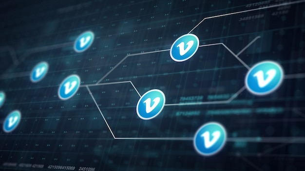 Vimeo icon line conexão da placa de circuito