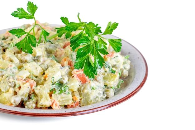 Vinagrete de vários vegetais cozidos no prato