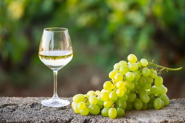 Vinho branco no copo e um cacho de uva branca