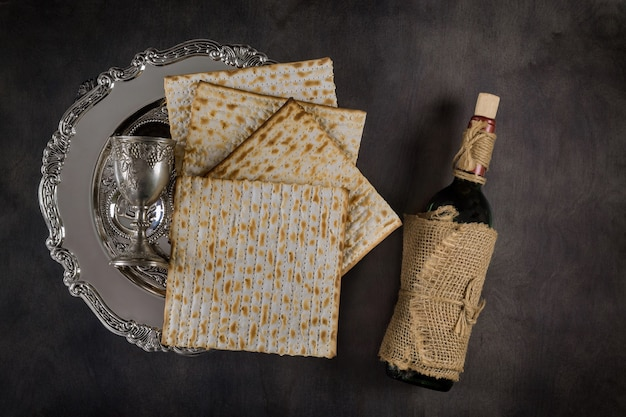 Vinho kosher feriado matzoth celebração matzoh pão judaico da páscoa