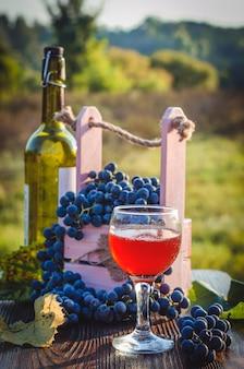 Vinho rosé e uvas frescas ao ar livre