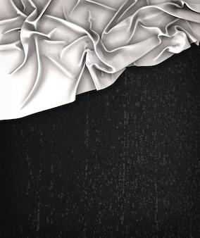Vintage bandeira branca em um quadro preto do grunge com espaço para texto