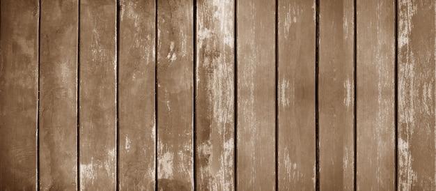 Vintage da parede de madeira antiga panorâmica com fundo de textura de madeira marrom
