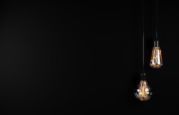 Vintage que pendura a lâmpada sobre o fundo escuro. renderização em 3d