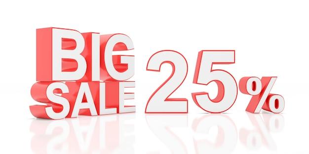 Vinte e cinco por cento de venda. grande venda para banner do site. renderização em 3d.