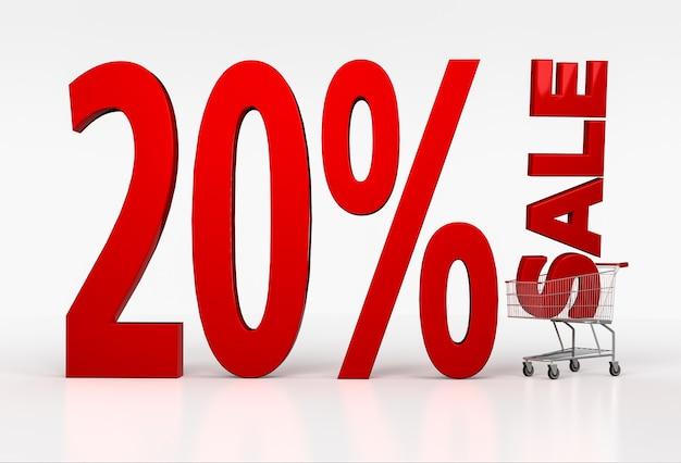 Vinte por cento de venda grande sinal vermelho e carrinho de compras em branco. renderização 3d