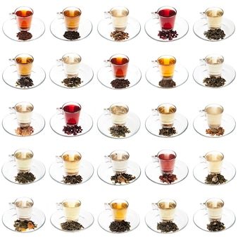 Vinte variedades de chás com folhas já mescladas