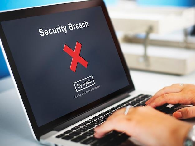 Violação de segurança hacker cibercrime conceito de política de privacidade