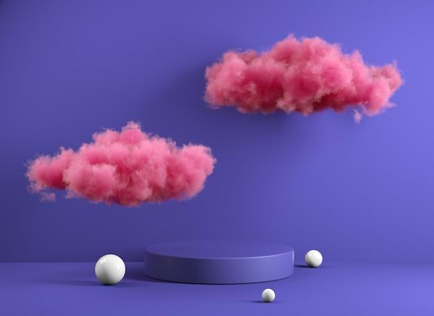 Violet modern minimal podium com pink fluffy cloud renderização 3d