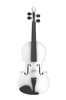 Violino branco clássico isolado no fundo branco, instrumento de cordas, renderização em 3d