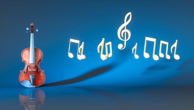 Violino clássico com notas em um fundo azul, ilustração 3d