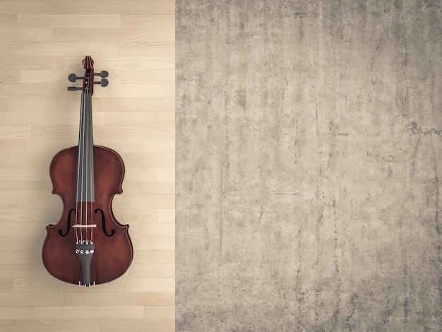 Violino clássico no fundo de madeira e no cimento cru.