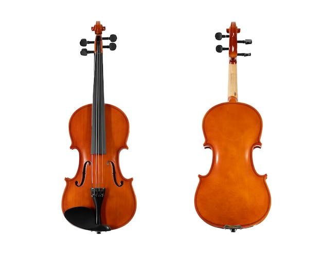 Violino de madeira marrom isolado no fundo branco