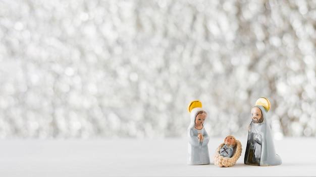 Virgem maria com o bebê jesus e são josé