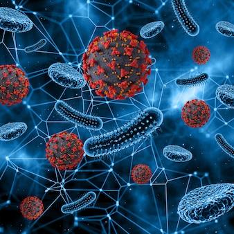 Vírus abstrato e células sanguíneas