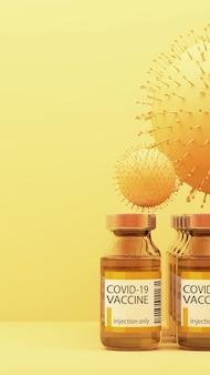 Vírus covid-19 com vacinas em renderização 3d de fundo amarelo