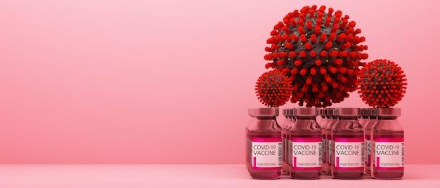 Vírus covid-19 junto com vacinas e medicamentos em renderização 3d de fundo rosa