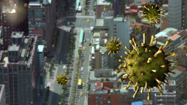 Vírus da influenza covid 19 com o belo e moderno distrito financeiro de taipei como uma gripe perigosa
