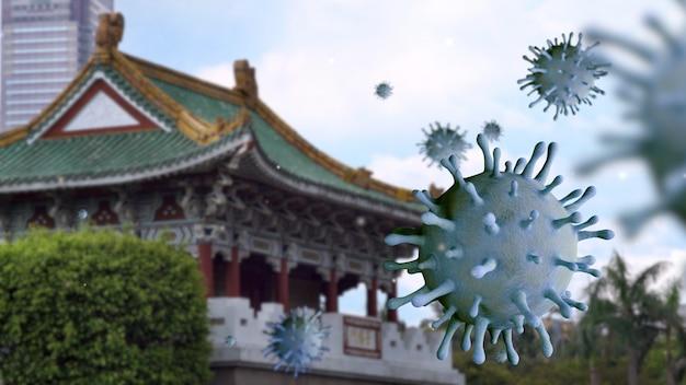 Vírus da influenza covid 19 com o belo portão leste de jingfu em taipei como uma gripe perigosa