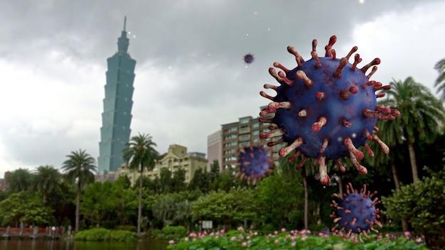 Vírus da influenza covid 19 com uma bela e moderna torre alta no distrito financeiro de taipei como uma gripe perigosa