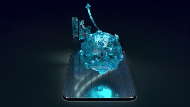 Vírus e gráfico no tablet, renderização em 3d