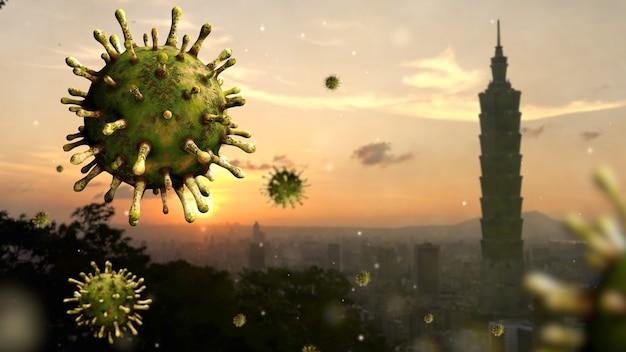Vírus influenza covid 19 com uma bela e moderna torre alta ao pôr do sol no distrito financeiro de taipei