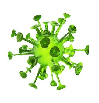 Vírus ou bactérias fecham isolado no fundo branco. ilustração de renderização 3d.