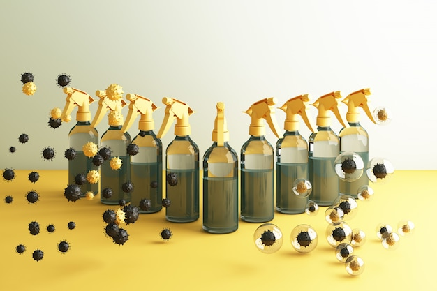 Vírus sendo morto por spray, solução desinfetante, spray de garrafa em torno de um monte de vírus colorido em renderização 3d amarela