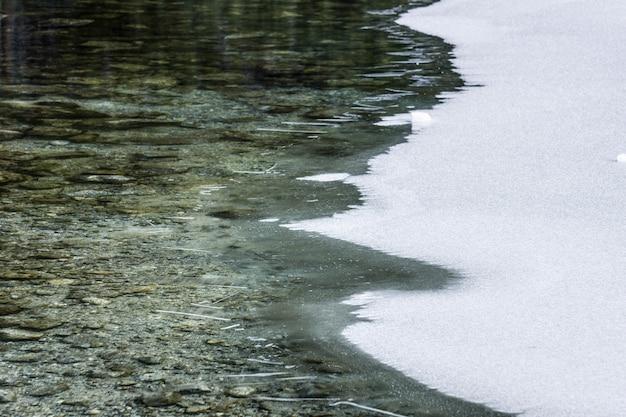 Visão aberta de blocos de gelo em um lago congelado
