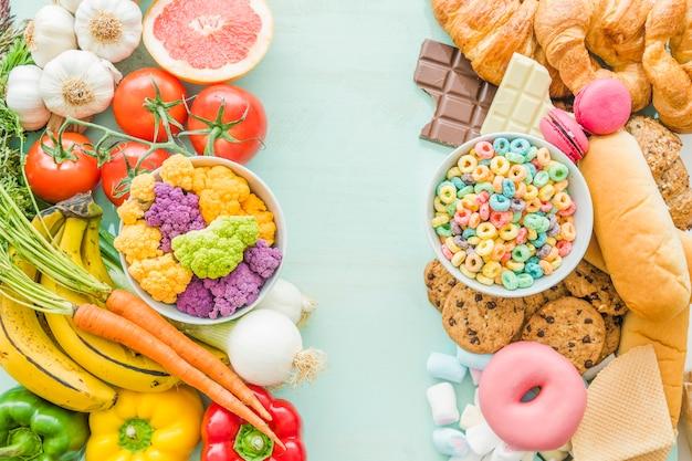 Visão aérea de alimentos saudáveis e saudáveis em segundo plano