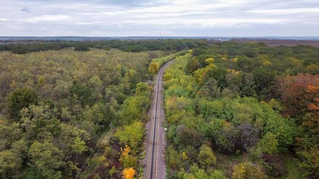 Visão aérea de drone da natureza na moldávia, uma ferrovia passando por uma densa floresta, céu nublado