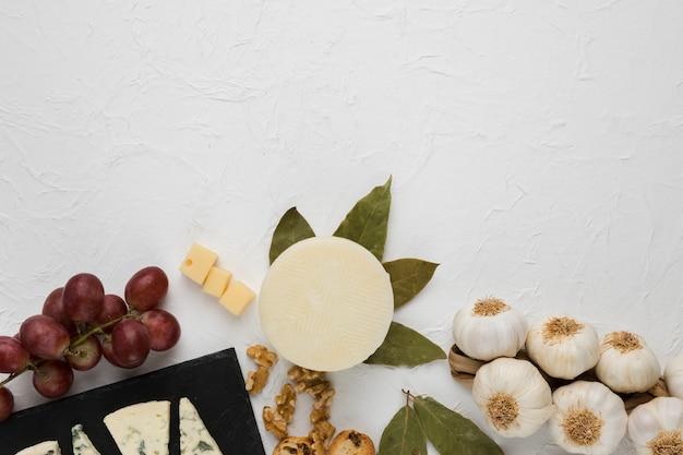 Visão aérea do saboroso ingrediente para café da manhã saudável