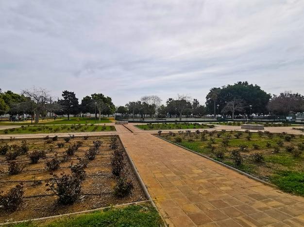 Visão ampla do parque huelin em málaga, espanha