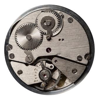 Visão aproximada do mecanismo do relógio antigo com engrenagens e rodas dentadas para o seu design de negócios de sucesso macro