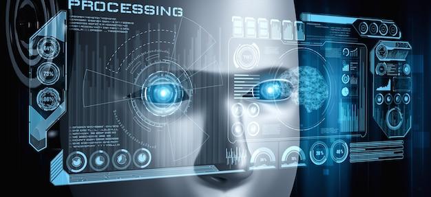 Visão aproximada do rosto do robô com gráfico futurista