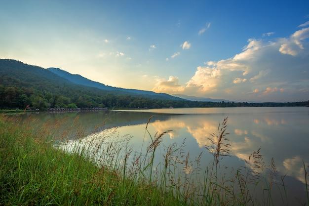 Visão cênica, de, a, reservatório, huay, tueng, tao, com, alcance montanha, floresta, em, noite, pôr do sol