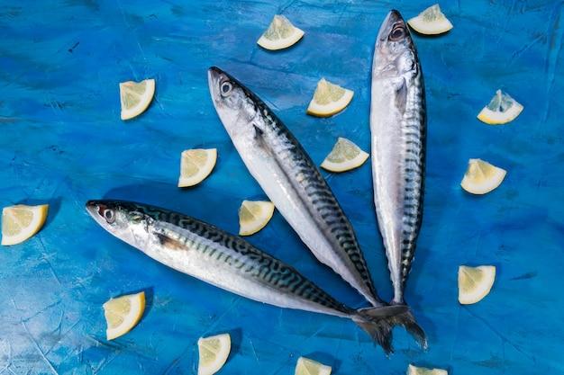Visão close-up, de, cru fresco, saudável, peixe cavala