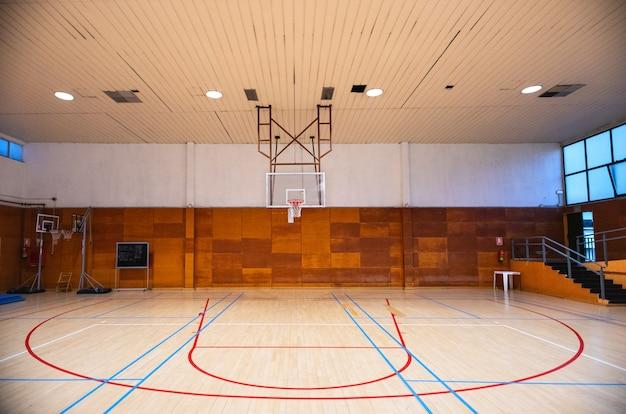 Visão de grande angular de uma cesta de basquete.