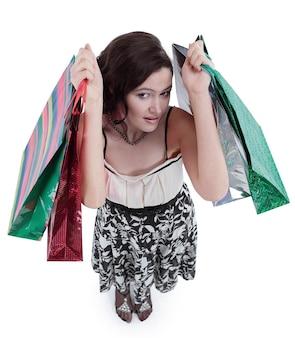 Visão do topo. mulher jovem e bonita com shopping.photo com espaço de cópia