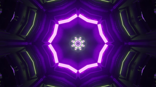Visão em perspectiva através do túnel de mundo virtual escuro iluminado com lâmpadas fluorescentes de néon, criando ornamentos geométricos como design de fundo sci fi abstrato na ilustração 4k uhd 3d